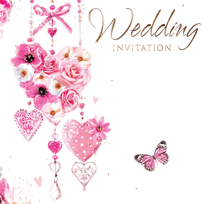 Multi Pack 36 Wedding Day Card Invitations & Envelopes - Flower Hearts Butterfly Simon Elvin