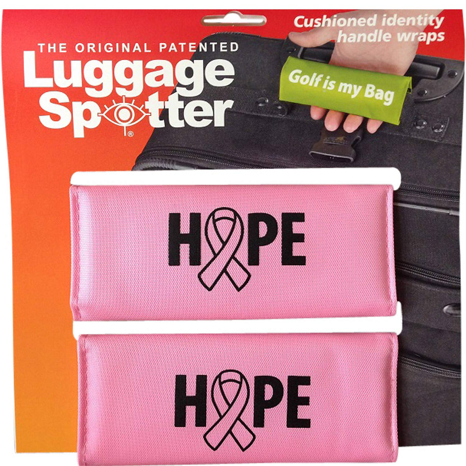 BUY ONE GET ONE FREE! PINK HOPE BREAST CANCER Luggage Spotter® Luggage Locator/Handle Grip/Luggage Grip/Travel Bag Tag/Luggage Handle Wrap (4 PACK) by Luggage Spotter