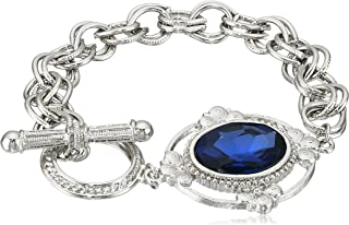 product image for 1928 Jewelry Gold-Tone Crystal Faceted Oval Stone Toggle Link Charm Bracelet