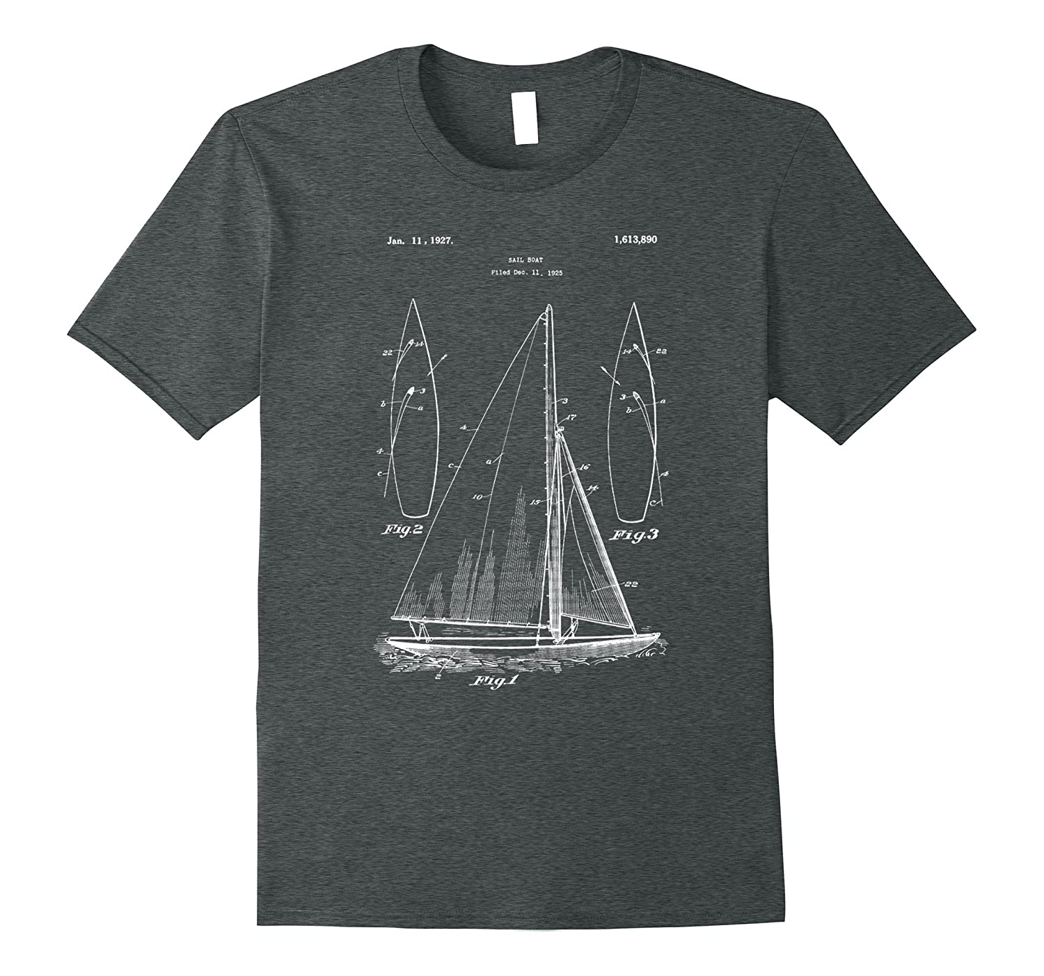 Sailboat Blueprint Design Shirt Old Ocean Sailing Boat