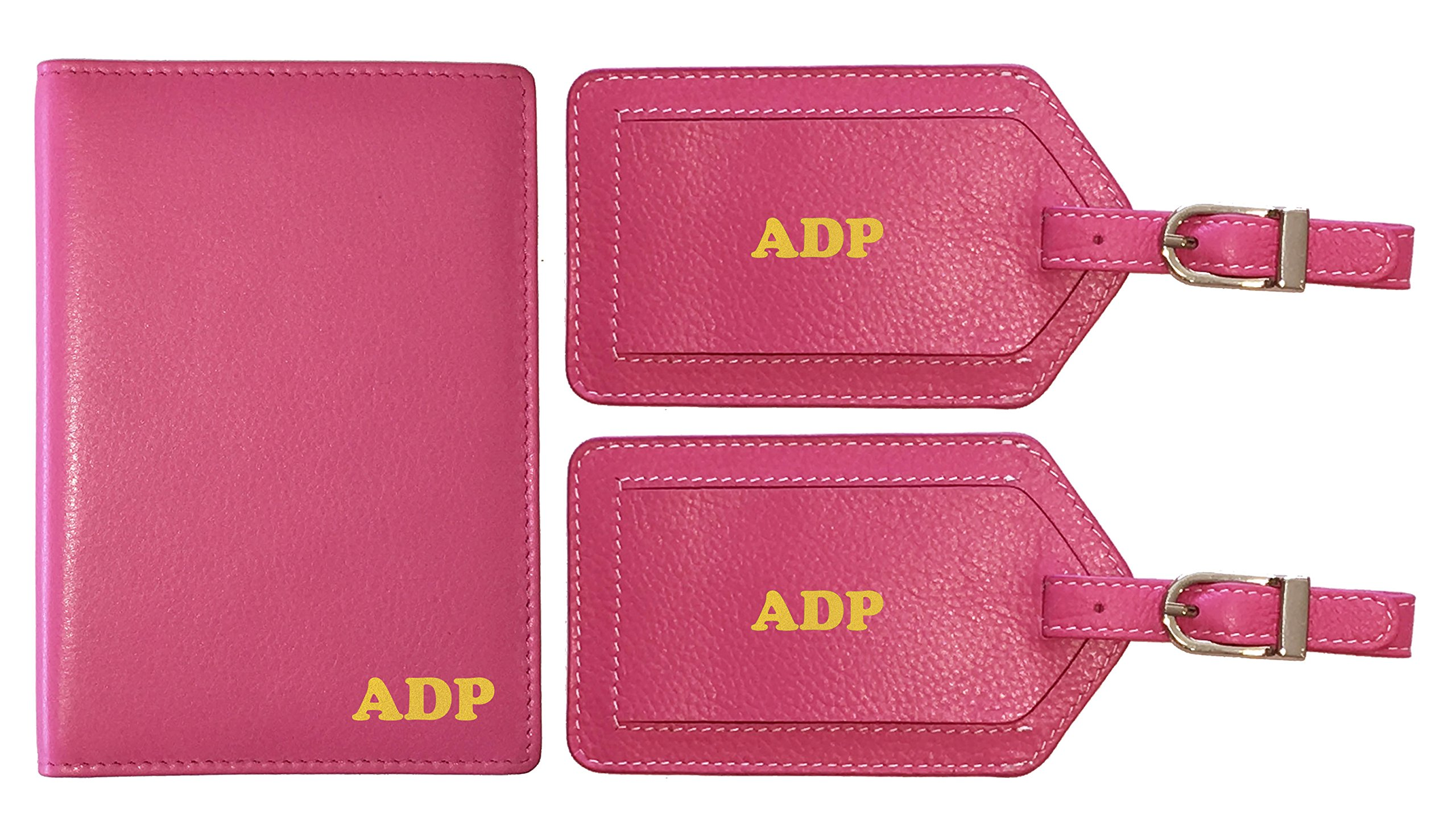 Personalized Monogrammed Hot Pink Leather RFID Passport Wallet and 2 Luggage Tags by 123 Cheap Checks