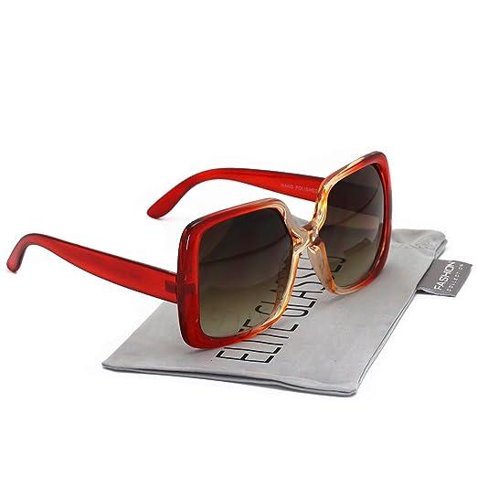 27c3cb44c Elite Oversized Square Jackie O Style Sunglasses Bold Vintage Retro Chic  Fashion Glasses (Brown Gradient