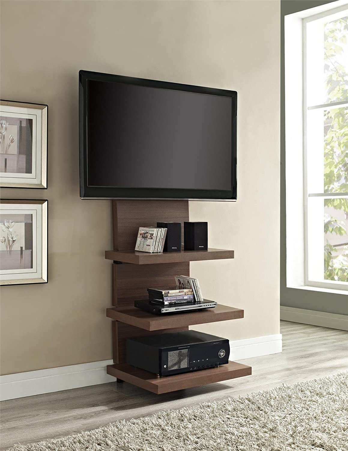 Amazon.com: Altra Furniture Hollow Core AltraMount TV Stand With Mount For  TVs Up To 60 Inch, Walnut Finish: Kitchen U0026 Dining