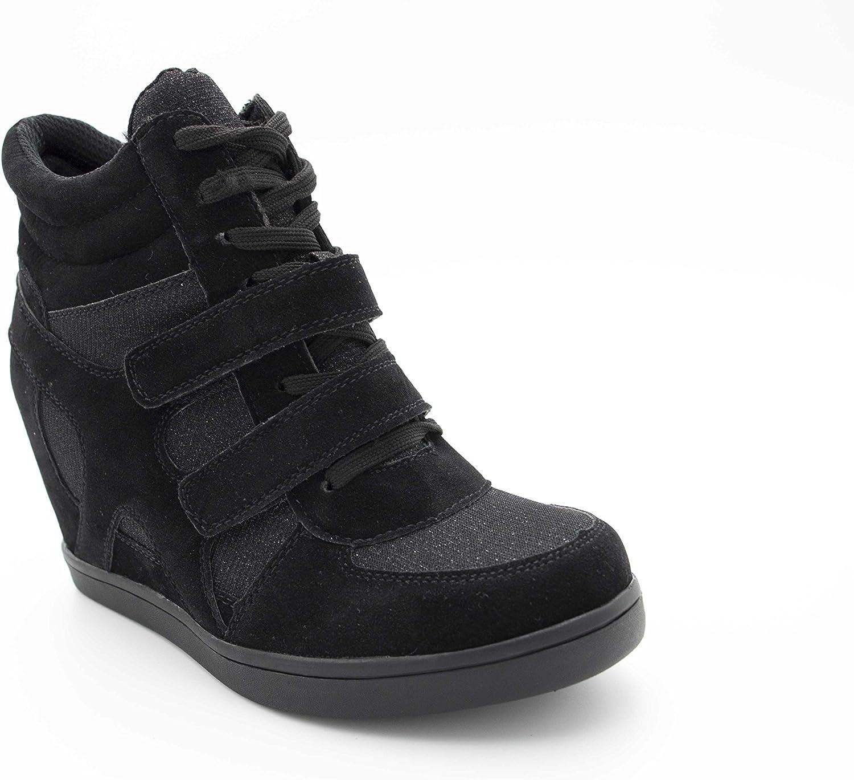 Bi-mati/ère Daim Scintillante Brillant Chaussure Talon Haut Scratch Lacet Su/édine Sneakers Tennis Casual Montantes Baskets Compens/ées Femmes
