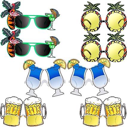 Amazon.com: Zhehao 8 piezas Hawaiian temática gafas de sol ...