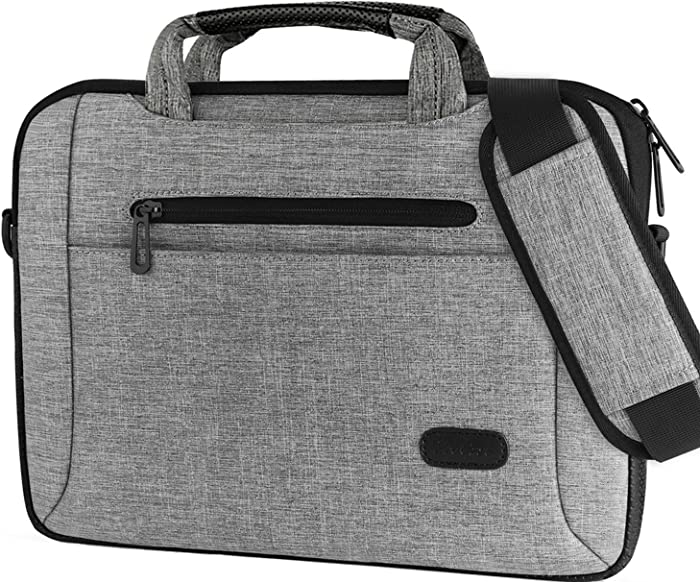 """ProCase 14-15.6 Inch Laptop Bag Messenger Shoulder Bag Briefcase Sleeve Case for 2019 MacBook Pro 16"""" / Surface Book 3 15"""", 14 15 15.6 Inch Laptop Ultrabook Notebook MacBook Chromebook Computer -Grey"""