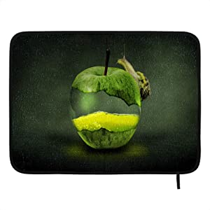 Absorbent Dish Drying Mat Green Apple Fruit Art Kitchen Counter Mat Protector Heat Resistant Drying Pad Protector Suitable for Kitchen Sink Dining Table decor 18×16 inch