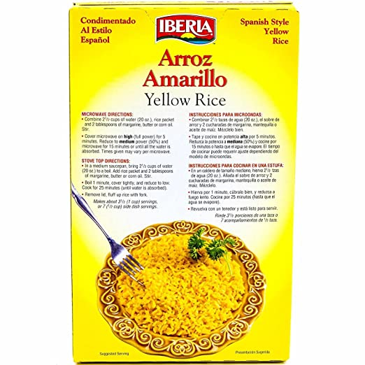 Amazon.com : Iberia Yellow Rice 8 oz, Spanish Style Seasoned Yellow Rice, Enriched Parboiled Long Grain Seasoned Rice, Microwaveable, Kosher (Pack of 12) ...