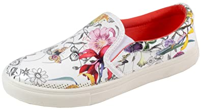 trendBOUTIQUE Parona - Damen Sneaker Slip Ons Slipper Blumen Blüten Prints 36 37 38 39 40 41 NeggeUGHO