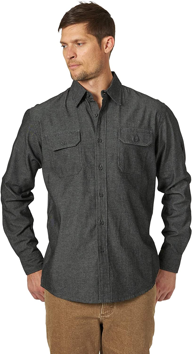 Men's Vintage Workwear Inspired Clothing Wrangler Authentics Mens Long Sleeve Classic Woven Shirt $52.00 AT vintagedancer.com