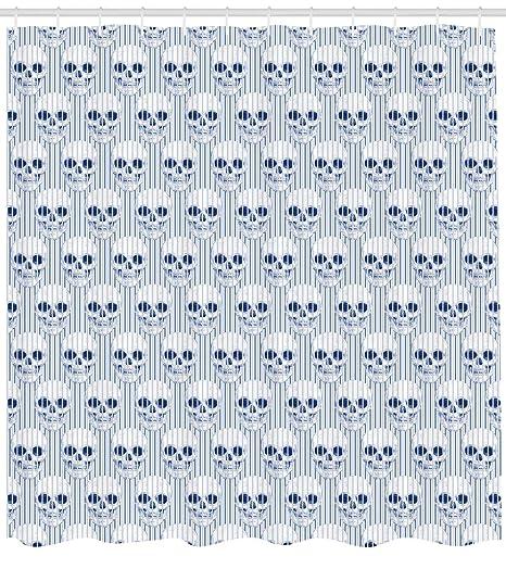 ABAKUHAUS Geom/étrico Cortina de Ba/ño 175 x 240 cm Azul Marino Blanco Calaveras Azules opticas Tela Opaca Resistente al Agua y Jab/ón Antimoho Estampa Moderna