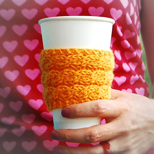 Amazon Yellow Braid Pattern Coffee Cozy Knitted Coffee Sleeve