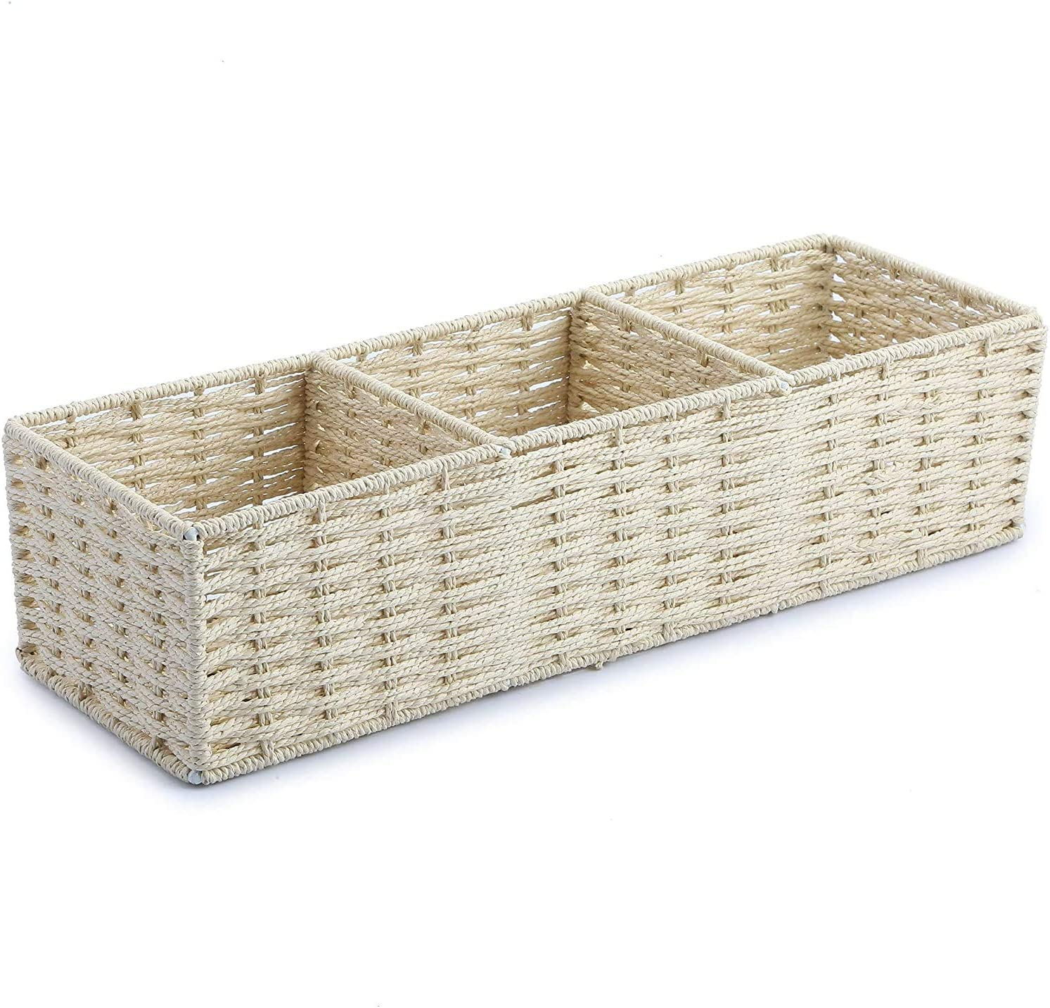 Bathroom Toilet Tank Tray Paper Rectangle Small Basket Organizer, Back of Toilet Storage Towel Woven Paper Rope Baskets Tank Topper for Bathroom Decor Counter Organizer Over the Toilet Storage (White)