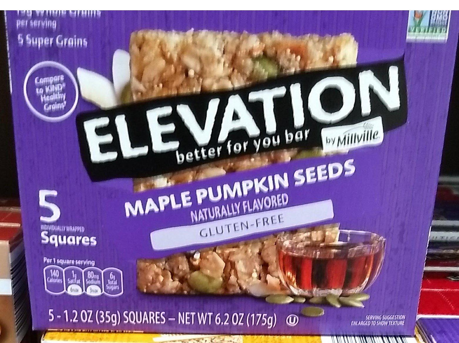 Elevation by Millville Maple pumpkin seeds, gluten free bar 6oz(1.2oz x 5bars), pack of 1