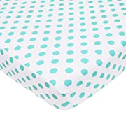 American Baby Company 100% Natural Cotton Percale Fitted Crib Sheet for Standard Crib and Toddler Mattresses, White with Aqua Dot, Soft Breathable, for Boys and Girls