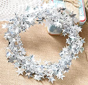 Yesier 25 FT Star Tinsel Garlands with Wire Christmas Tree Party Decoration Festive Ornament, 2 Pack (Silver)