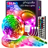 Phopollo Led Strip Lights Color Changing 32.8ft Flexible 5050 RGB Led Lights Kit with 12v Power Supply and 44 Key Ir…
