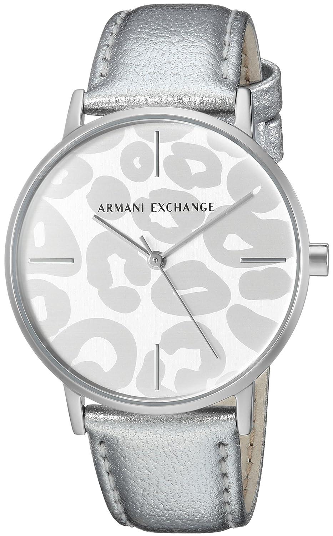 61a2aaa8b680ce Armani Exchange Women s Dress Silver Leather Watch AX5539  Armani Exchange   Amazon.co.uk  Watches