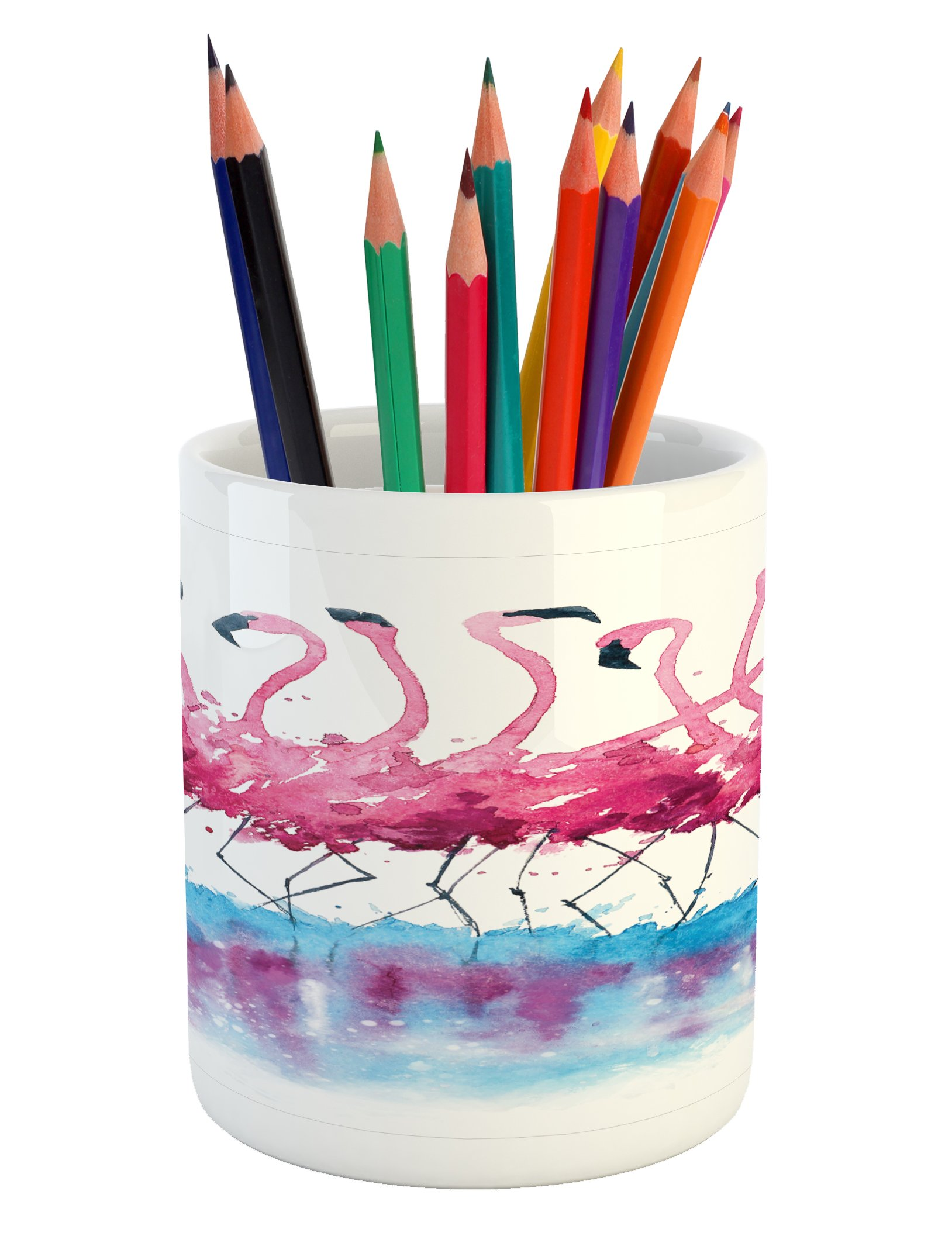 Ambesonne Animal Pencil Pen Holder, Flamingos Love Birds Feather Romance Brushstroke Splash Watercolor Effect, Printed Ceramic Pencil Pen Holder for Desk Office Accessory, Pink Blue Purple