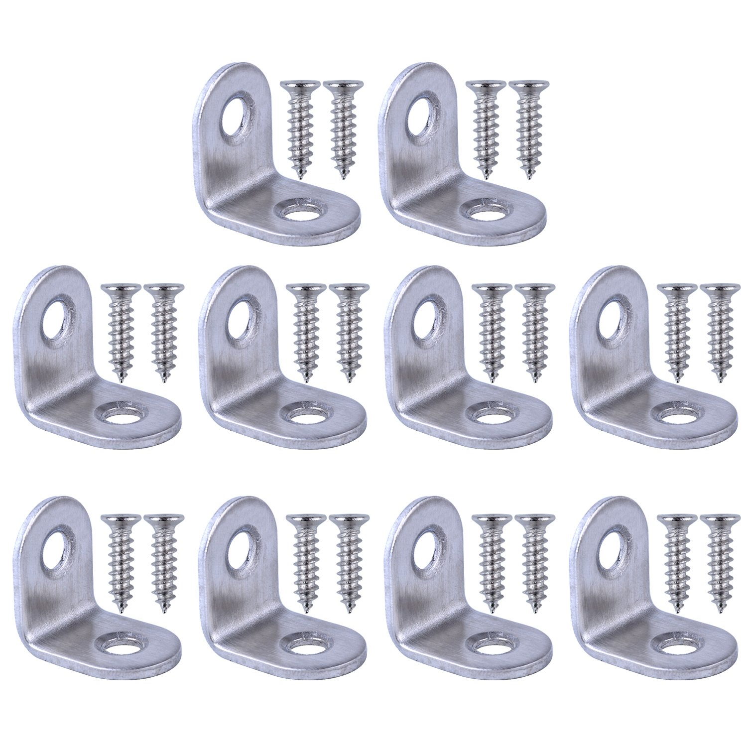 Bronagrand 10pcs 90 Degree Right Angle Brackets Fastener Stainless Steel Corner Braces with Screws 20x20mm