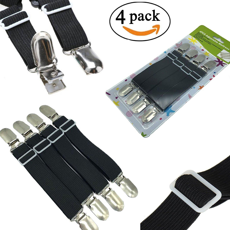 Tensores CCZZ, pack de 4 unidades, ajustables, para ropa de cama o toallas, con pinzas metálicas, para todas las camas y colchones