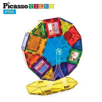 PicassoTiles PT62 Kids Toy Building Block Ferris Wheel Set LED Light Children Construction Kit Magnet Tiles: Toys & Games