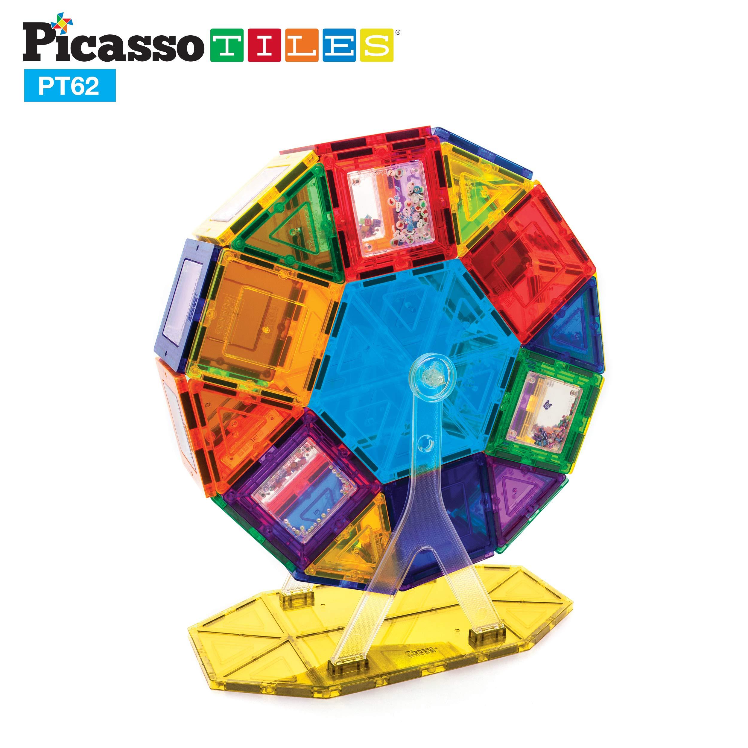 PicassoTiles PT62 Kids Toy Building Block Ferris Wheel Set LED Light Children Construction Kit Magnet Tiles by PicassoTiles