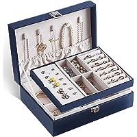 Voova Caja Joyero para Mujer, Organizador Joyas de 2 Niveles, Grande Jewelry Organizer Box de PU Cuero, Caja Joyería de…