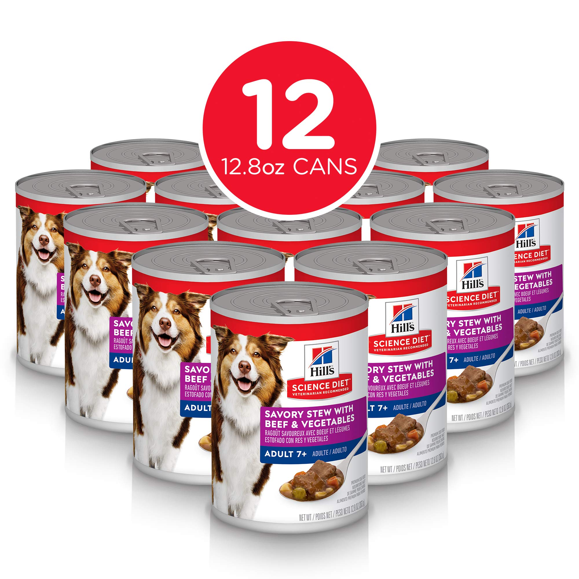 Hill's Science Diet Canned Dog Food, Adult 7+, Savory Stew with Beef & Vegetables, 12.8 oz, 12 Pack by Hill's Science Diet