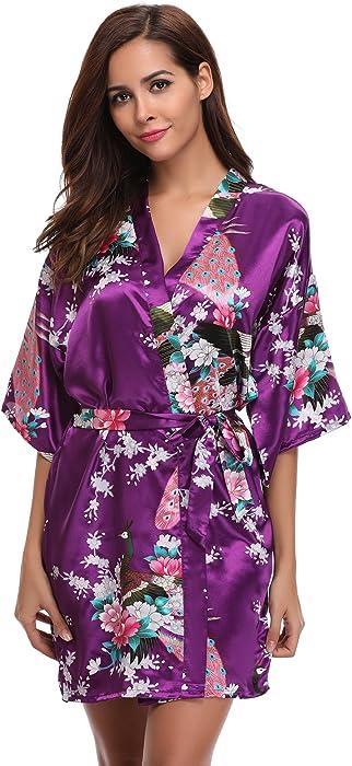 Aibrou Women s Kimono Robe Satin Peacock Bathrobe Short Silk Bridal Robe ... f11075917