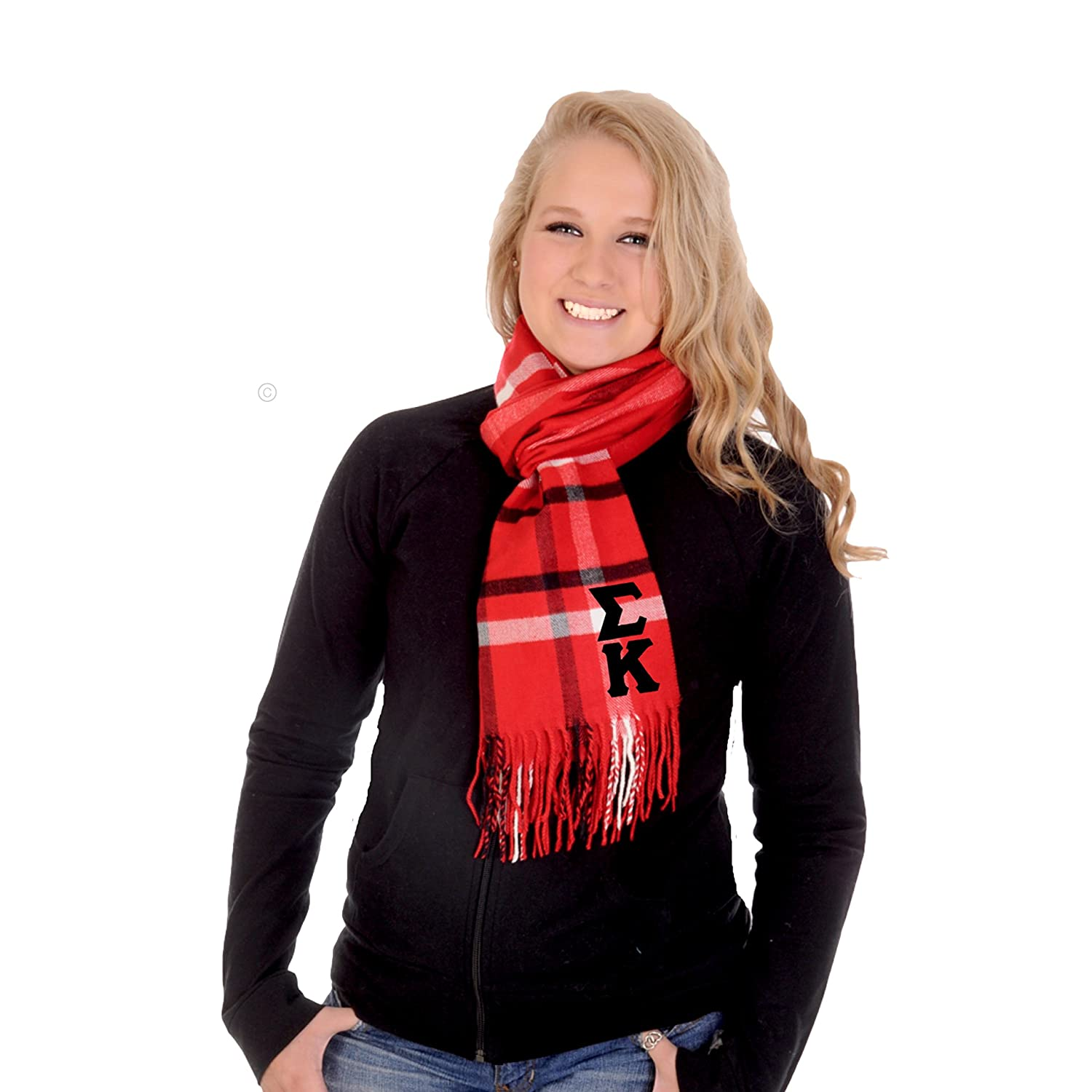 Sigma Kappa Scarf Red Plaid with Black Greek Letters