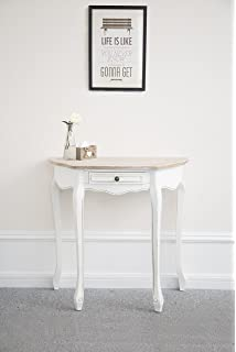 Elegant Montpellier Shabby Chic French Style Half Moon Console Dressing  Table White Wooden With Half Moon Console Table.