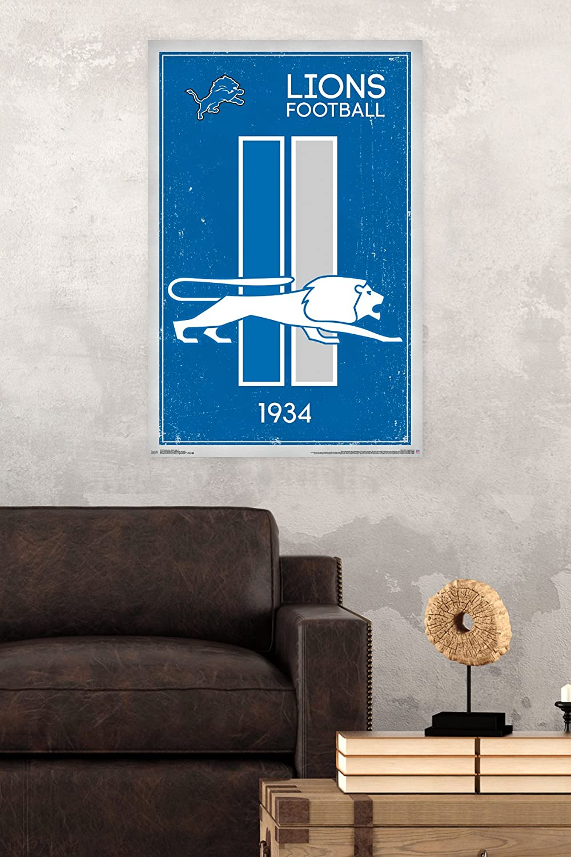 Trends International Detroit Lions Retro Logo Wall Poster 22.375 x 34 RP13173