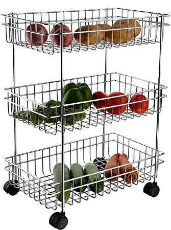 VDNSI Stainless Steel Portable Design 3 Layer Fruit and Vegetable Basket/Modern Kitchen Storage Rack