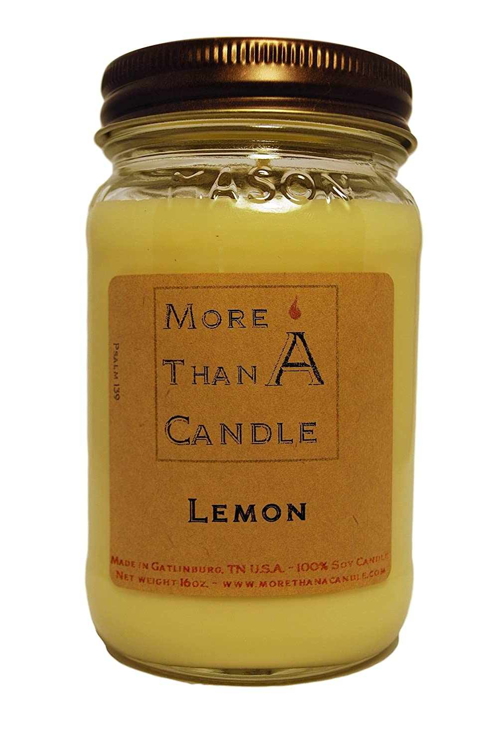 More Than A Candle LMN16M 16 oz Mason Jar Soy Candle, Lemon B079QH8RF9