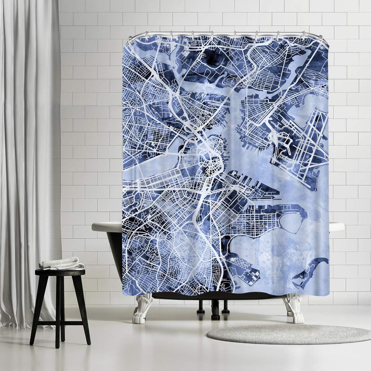 American Flat Boston Massachusetts Street Map New 6'' Art Pause Shower Curtain by Michael Tompsett, 71'' x 74''