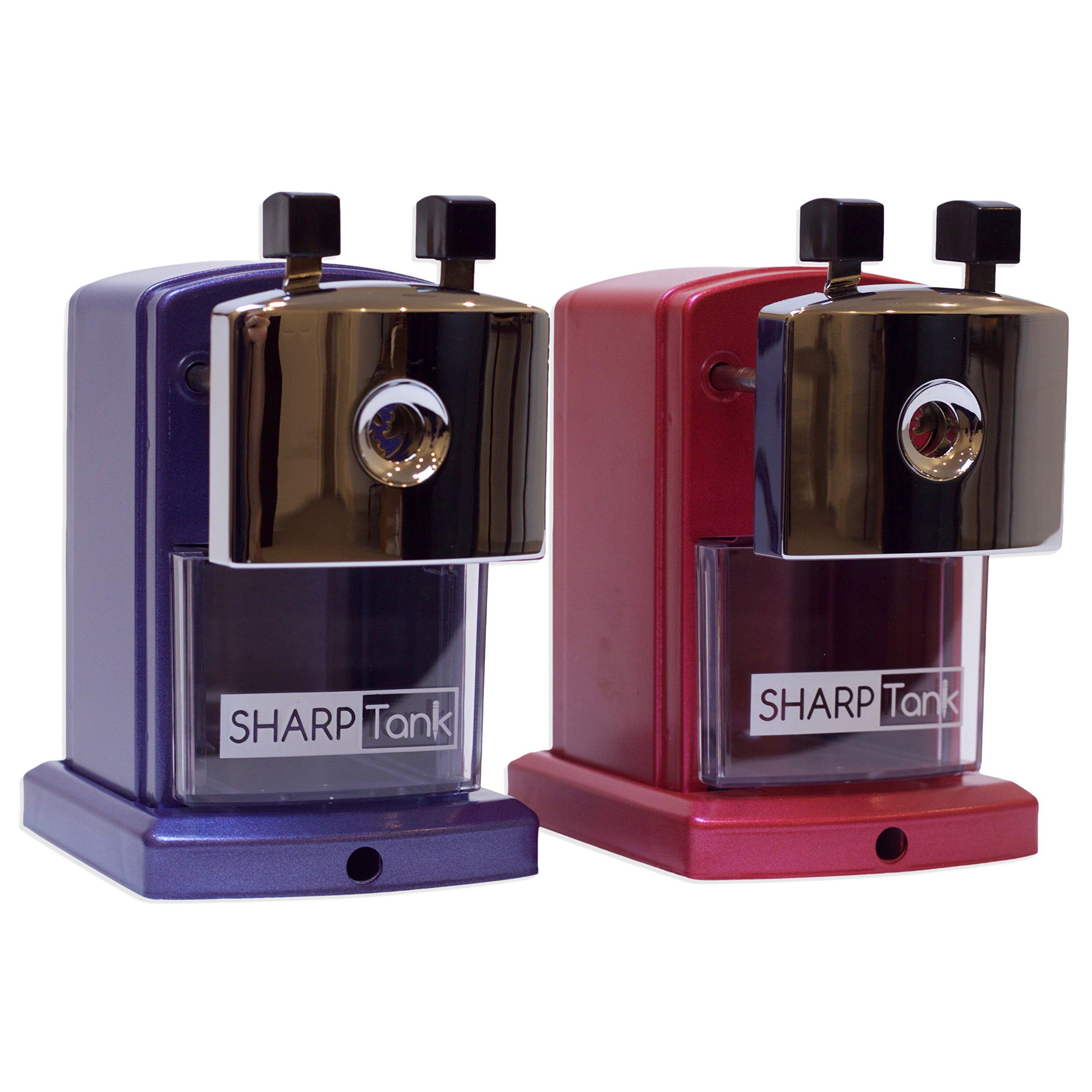 SharpTank Twin Pack - Includes Two Pencil Sharpeners (1 Metallic Rose & 1 Metallic Plum) by SHARP TANK