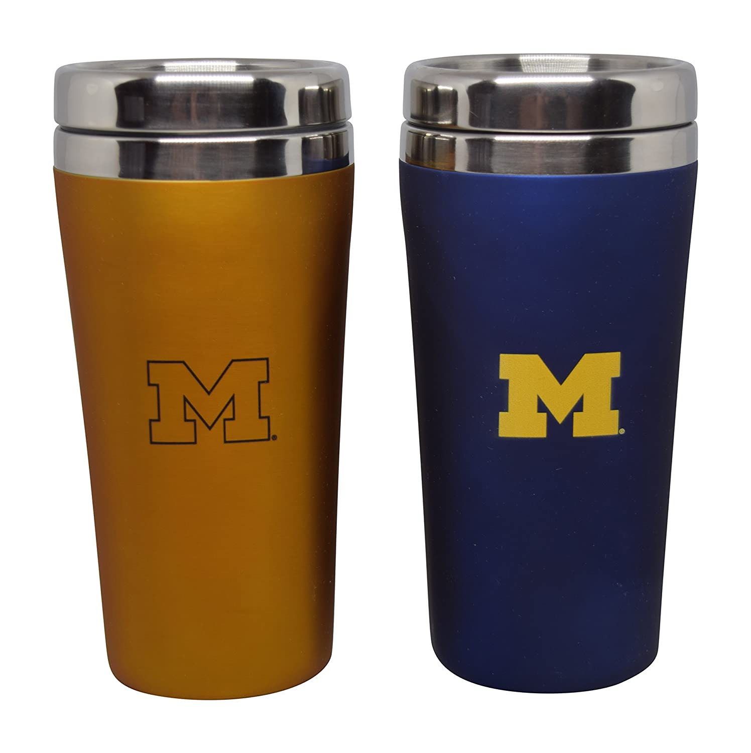 Gift Set of 2 16 Ounce Stainless Steel Tumbler Set for NCAA University of Michigan Wolverines
