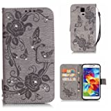 Samsung Galaxy S5 Case + Free Tempered Glass Screen Protector, BoxTii® [Lifetime Warranty] Premium Diamond Leather Case with Silicone Protect Cover, Book Style Flip Wallet with Card Slots Cash Holder Stand Function Magnetic Closure, Flower Butterfly Pattern Design Case Cover for Samsung Galaxy S5 (#6 Gray)