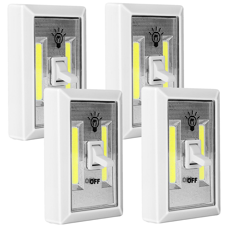 COB LED Light Switch, PEMOTech 4 Pack Battery Operated Emergency Light, 200 Lumen Wireless Closet Light, LED Night Light for Bedroom, Dark Stair, Basement, Pantry, Garage, RV, Christmas Decorations