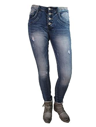 Place du Jour Baggy Boyfriend Damen Stretch Hose used Denim Jeans Knöpfe  Strass Glitzer Bund: Amazon.de: Bekleidung