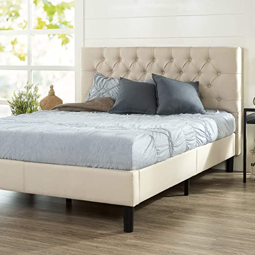 Amazon Com Zinus Misty Upholstered Platform Bed Frame Mattress Foundation Easy Assembly With Strong Wood Slat Support Queen Taupe Kitchen Dining