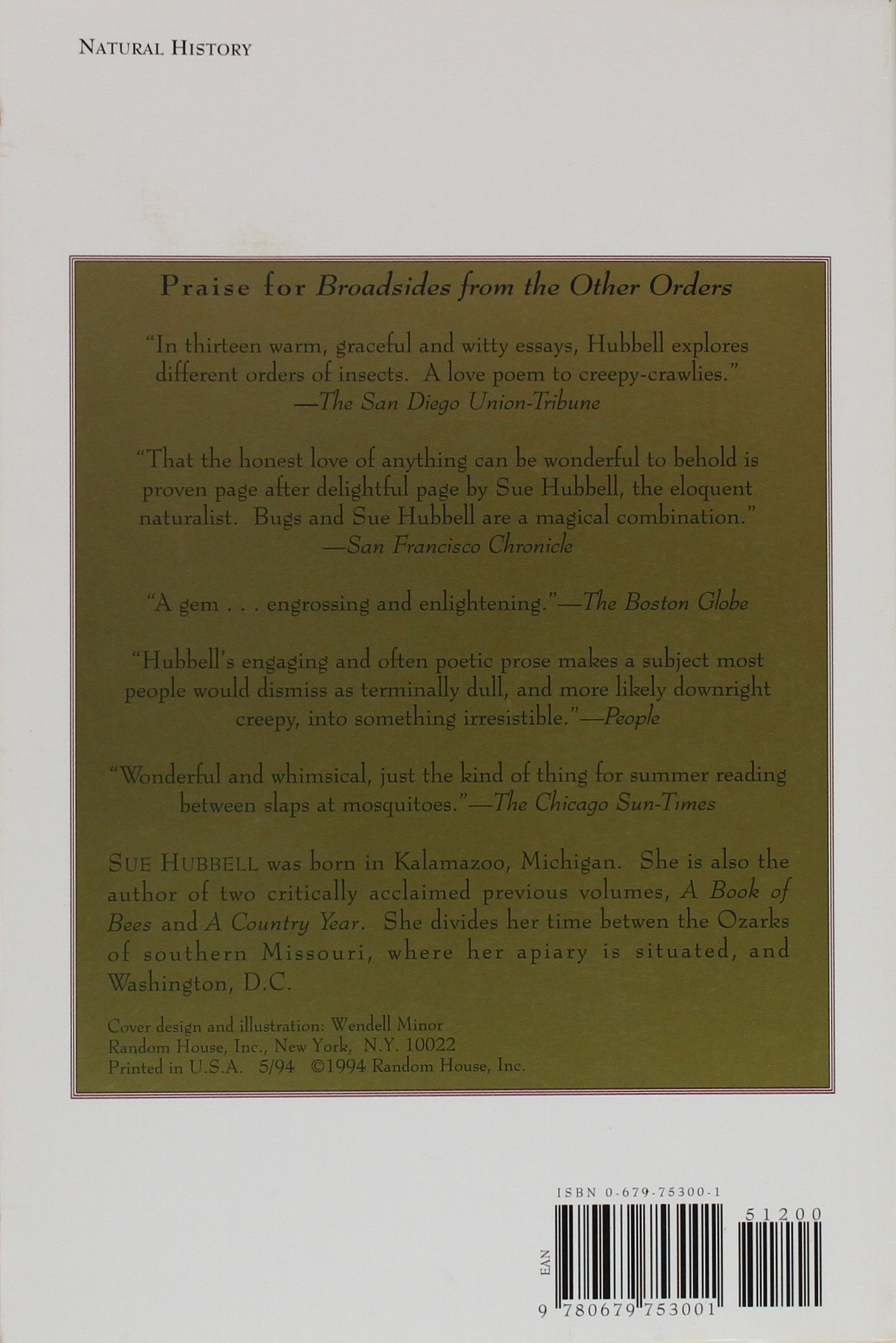 broadsides from the other orders a book of bugs sue hubbell