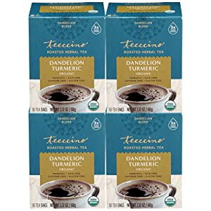 Teeccino Dandelion Tea – Turmeric – Rich & Roasted Super Herb Tea with Dandelion, Turmeric, Licorice & Ginger Roots for Detox & Immune Support, 10 Tea Bags (Pack of 4)