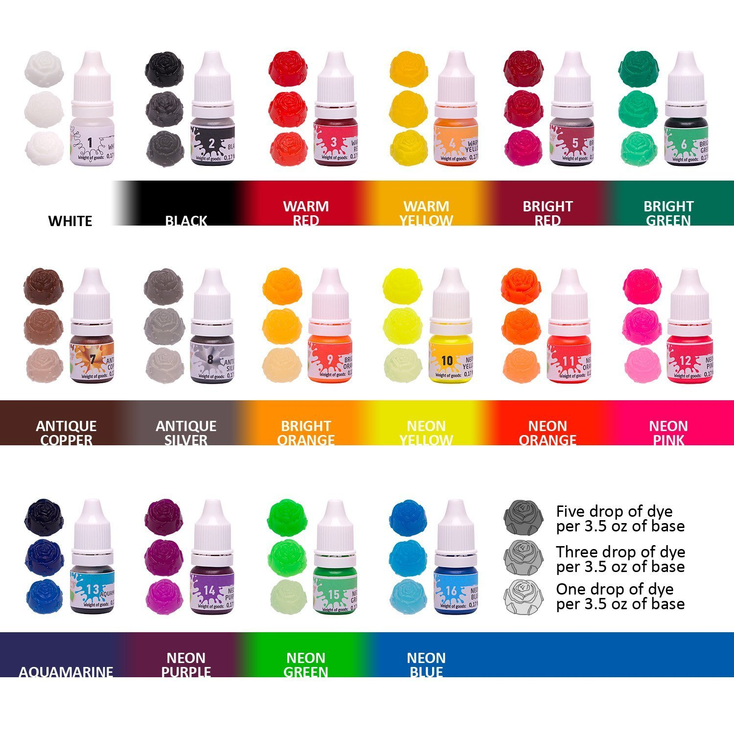 Bath Bombs Color Dyes - 16 Liquid Colors for Soap Coloring - 0.17 oz 16 Bottles - Soap dye-Soap Making Colorants Set