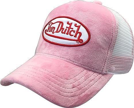 Von Dutch Trucker Hat with Logo Patch Baseball Hat (Pink Velvet VDHT233) 91a28df6e20