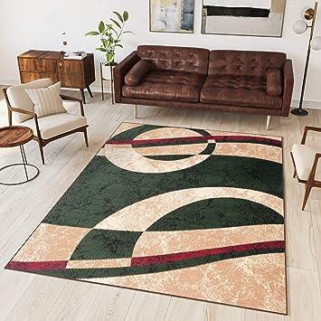 Tapiso Tapis De Salon Chambre Moderne Fin Collection Dream - Couleur Vert  Beige Motif Abstrait Bandes - Facile d\'entretien - Prix Economique 60 x 100  ...