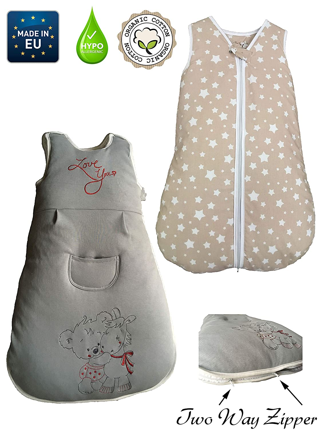 Sleeping Bag Baby Newborn: 2,5 TOG, 0-6 Months, 100% Organic cotton, 70cm, Newborn, Two- way middle zip, White Stars, Beige, Girls and Boys