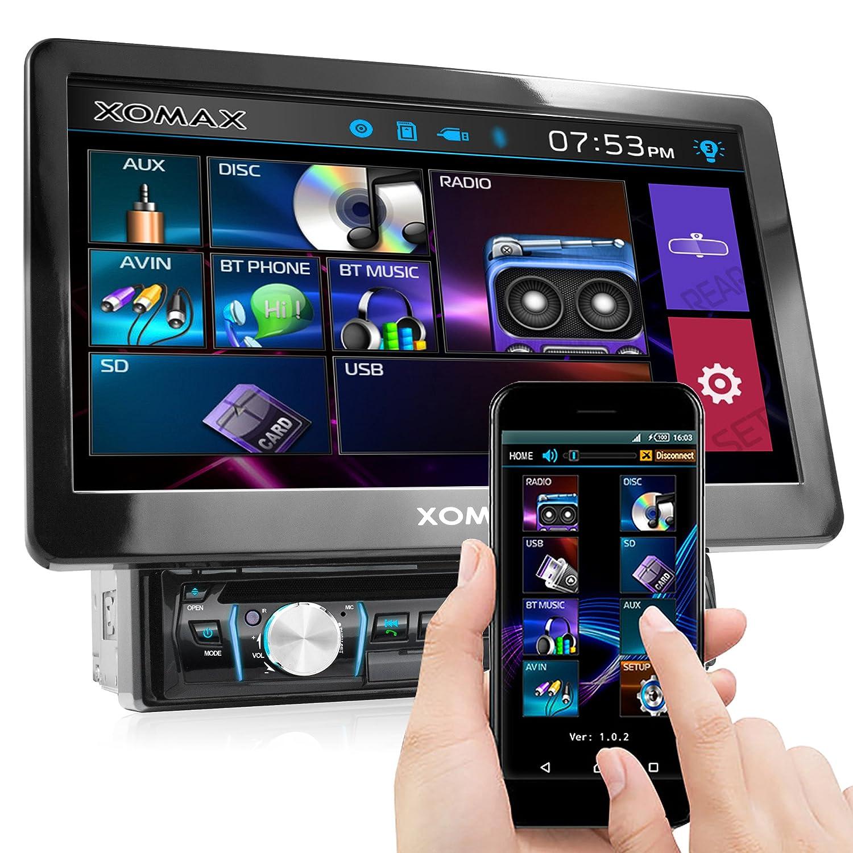 XOMAX XM-D1002 autoradio con 25,7 cm (10,1 pulgadas) LCD pantalla táctil + Bluetooth dispositivo manos libres y función de reproducción + código libre DVD ...
