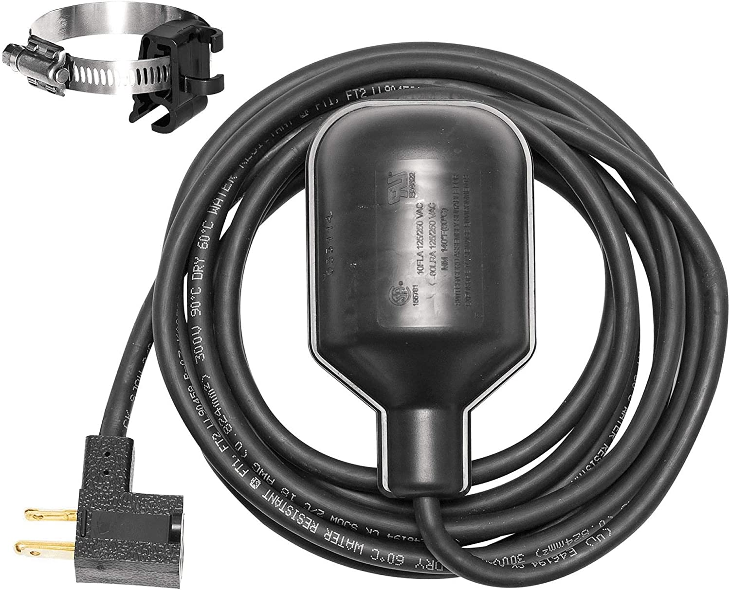 Cord Normally Closed Wide Angle Durable Piggyback Plug Design Float Switch 8 ft
